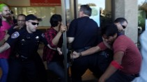 A moment from the clash between students and police at City College March 13, 2014. (Alex Emslie/KQED)