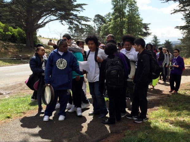 Visitacion Valley Middle School students march from their school to June Jordan High School on April 8. (Alex Emslie/KQED)