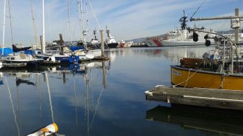 A yellow chemical containment boom surrounds a Coast Guard cutter in the Oakland Estuary on Wednesday, Feb. 11. (Courtesy of Mark Foley)
