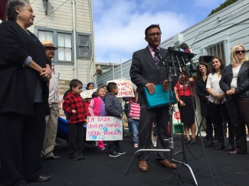 San Francisco Supervisor David Campos, outside the Mission Neighborhood Center, unveils a proposal to halt market-rate housing developments in the city's Mission District for two years. (Alex Emslie/KQED)