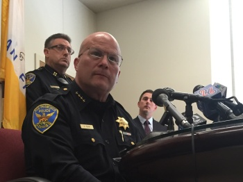 San Francisco Police Chief Greg Suhr said Friday that he had suspended seven officers and recommended they be fired for sending bigoted text messages. (Alex Emslie/KQED)