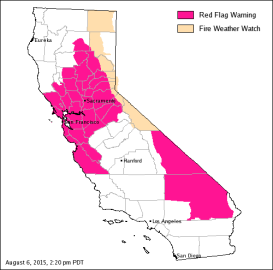 A California fire weather map on Aug. 6, 2015. (Cal Fire)