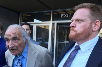 "Raymond ""Shrimp Boy"" Chow's defense attorneys Tony Serra, left, and Curtis Briggs unsuccessfully argued Aug. 27 that their client was selectively prosecuted for racketeering charges while alleged crimes by prominent San Francisco politicians, including Mayor Ed Lee, were ignored. (Alex Emslie/KQED)"