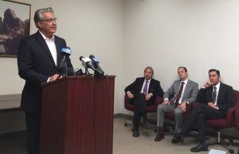 San Francisco Sheriff Ross Mirkarimi joins an Oct. 29 announcement of a lawsuit alleging San Francisco's use of monetary bail is unconstitutional. (Alex Emslie/KQED)