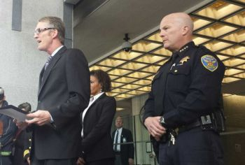 FBI Special Agent in Charge David Johnson with SFPD Chief Greg Suhr at a 2014 press conference. (Alex Emslie/KQED)