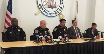 San Francisco Police Department Deputy Chief Toney Chaplin, Chief Greg Suhr, Mission Station Capt. Daniel Perea, Investigations Cmdr. Greg McEachern and homicide division Lt. Edward Yu at an April 13 town hall meeting on the fatal police shooting of Luis Gongora. (Alex Emslie/KQED)