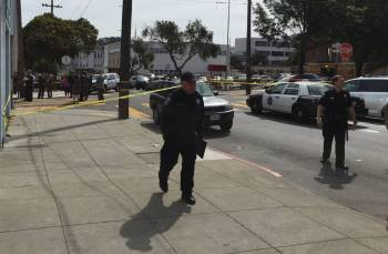 The scene of a fatal officer-involved shooting by San Francisco police on April 7, 2016, near 19th and Shotwell streets. (Alex Emslie/KQED)