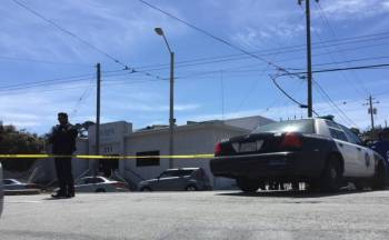 The scene of a fatal San Francisco officer-involved shooting on May 19, 2016 in the city's Bayview neighborhood. City officials later confirmed that Sgt. Jason Eng mortally wounded Jessica Williams, 29, when he fired a single gunshot as he and another officer attempted to remove Williams from a car that had been reported stolen. (Alex Emslie/KQED)