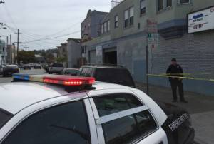 The scene of the fatal San Francisco police shooting of Luis Gongora near Shotwell and 18th streets on April 7. (Alex Emslie/KQED)